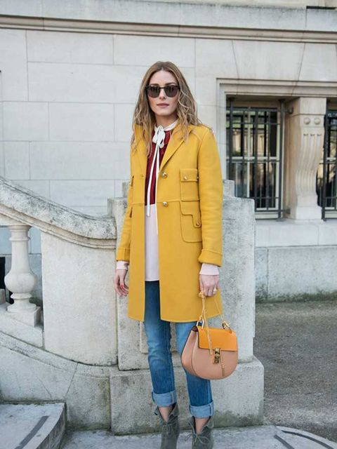 Olivia Palermo arrives for the Chloe a/w15 show during Paris Fashion Week, March 2015.