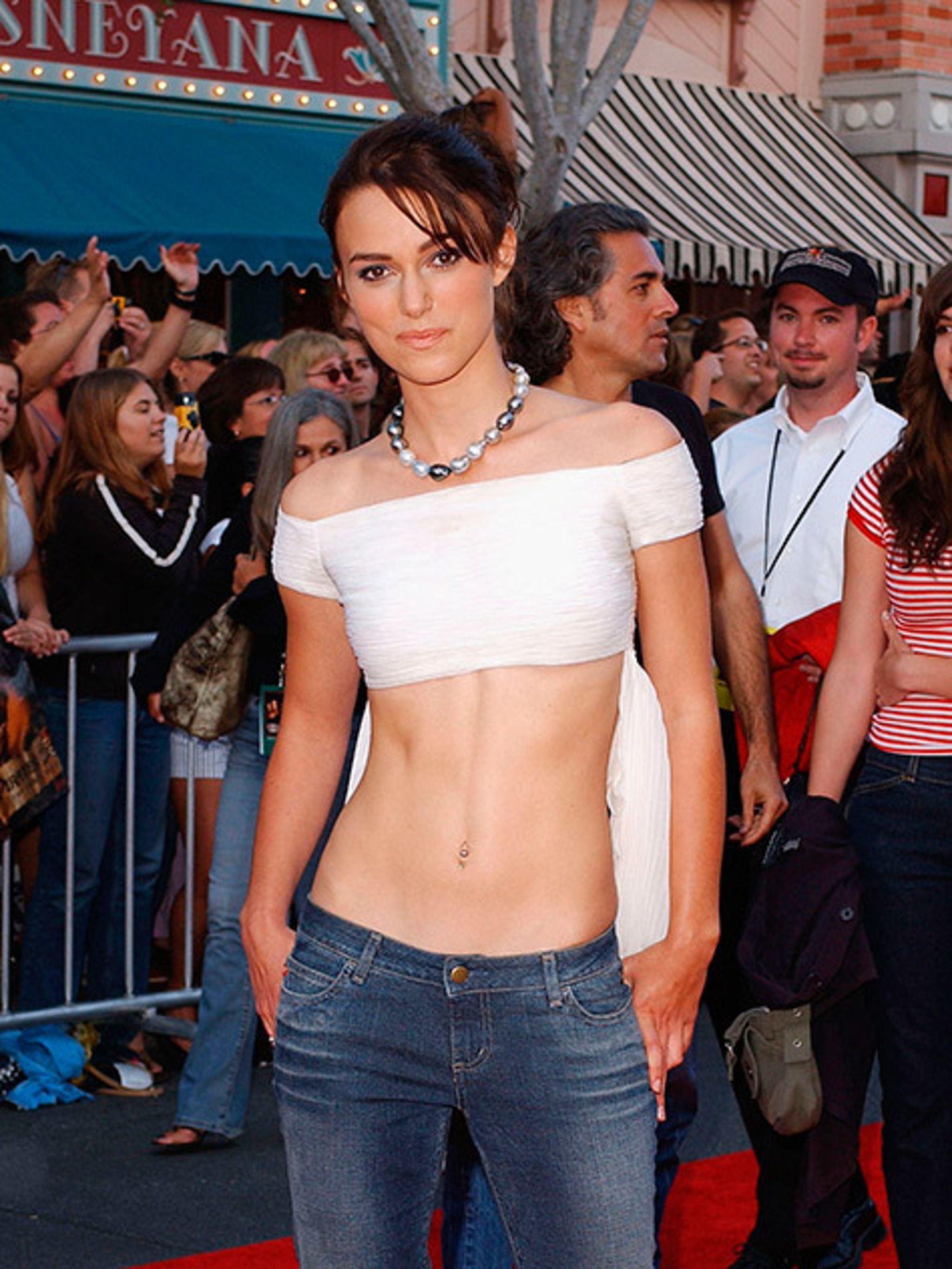 <p>Keira Knightley at the world premiere of <em>Pirates of the Caribbean - The Curse of the Black Pearl</em> in Anaheim, California, June 2003.</p>
