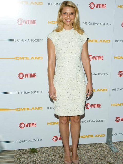 <p>Claire Danes wears a fully embellished dress with cap sleeves and a high-neckline from L'Wren Scott's Spring Summer 11 collection, with simple nude pumps and Yossi Harari earrings.</p>