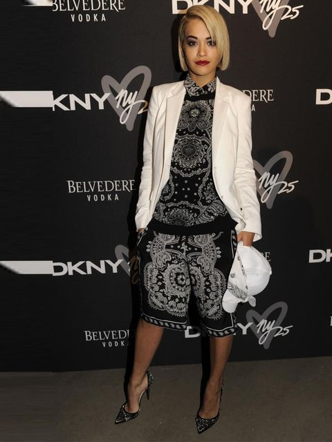"""<p><a href=""""http://www.elleuk.com/star-style/celebrity-style-files/rita-ora-s-best-looks-from-hip-hop-throwback-90s-high-street-to-red-carpet-glamourous-looks"""">Rita Ora</a> wore <a href=""""http://www.elleuk.com/catwalk/designer-a-z/dkny/spring-summer-2014"""">"""