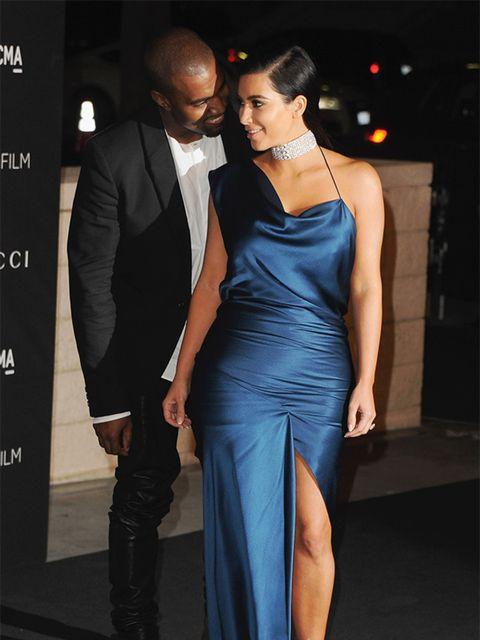 <p>Kim Kardashian West, in Cushnie et Ochs, with Kanye West at the LACMA Art + Film Gala, November 2014.</p>
