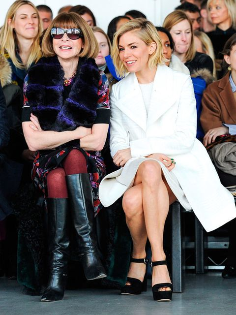 Sienna Miller and Anna Wintour attend the Calvin Klein a/w 2015 show.
