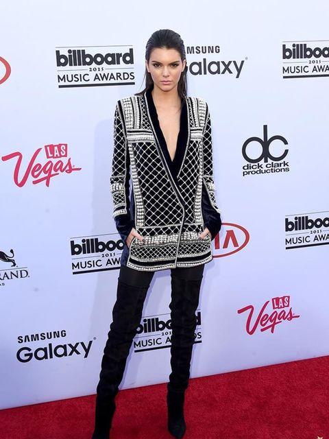 <p>Kendall Jenner in Balmain x H&M at the Billboard Music Awards in LA, May 2015.</p>