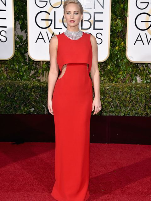<p>Jennifer Lawrence in Dior and Chopard jewllery, attends the Golden awards in LA, January 2016.</p>