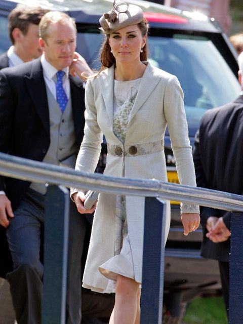 <p>Kate Middleton wears Katherine Hooker coat June 2012</p>