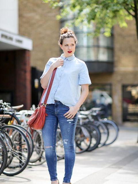 <p>Sophie Beresiner, Beauty Director</p>  <p>Zara shirt and jeans, Miu Miu shoes, Chloé bag.</p>