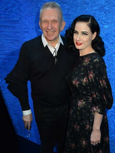 <p>Jean Paul Gaultier and Dita Von Teese at the Jean Paul Gaultier show as part of Paris Fashion Week Haute Couture S/S14, January 2014. </p>