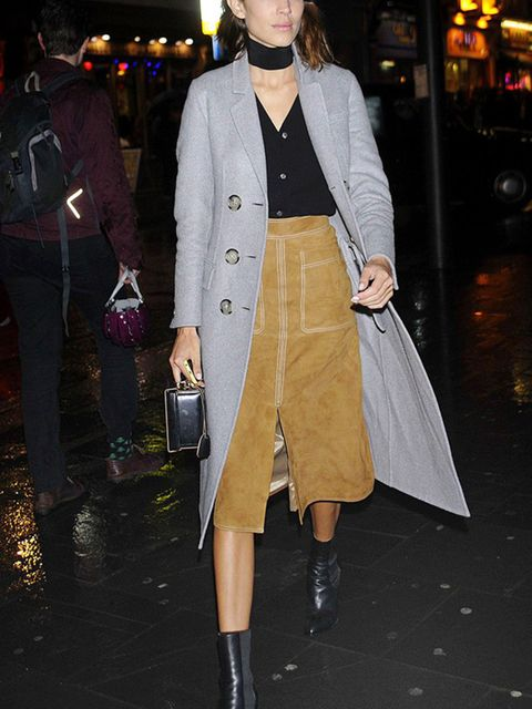 "<p><a href=""http://www.elleuk.com/fashion/celebrity-style/alexa-chung-s-style-file"" target=""_blank"">Alexa Chung</a> wearing a Marks and Spencer suede skirt</p>"