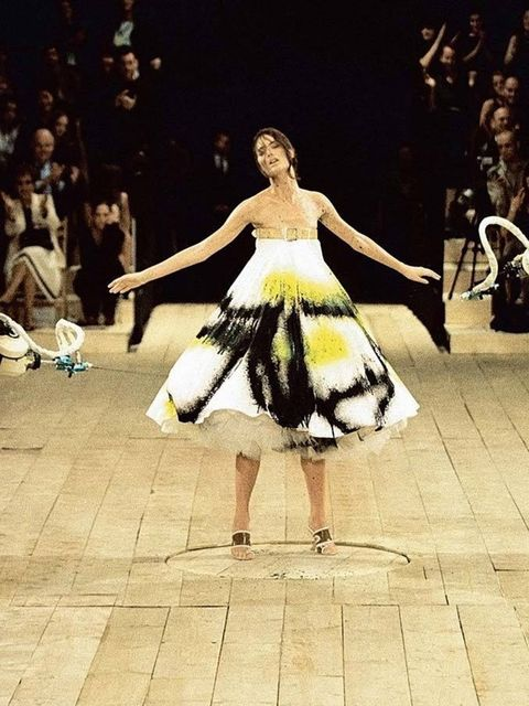 <p><strong>3) The spray-painted dress.</strong></p>  <p>No 13, s/s 1999 – must be one of McQueen's greatest early shows, featuring the model Shalom Harlow being spray-painted by futuristic car robots as she turned on a revolving floor.</p>  <p>'GIVE ME TI