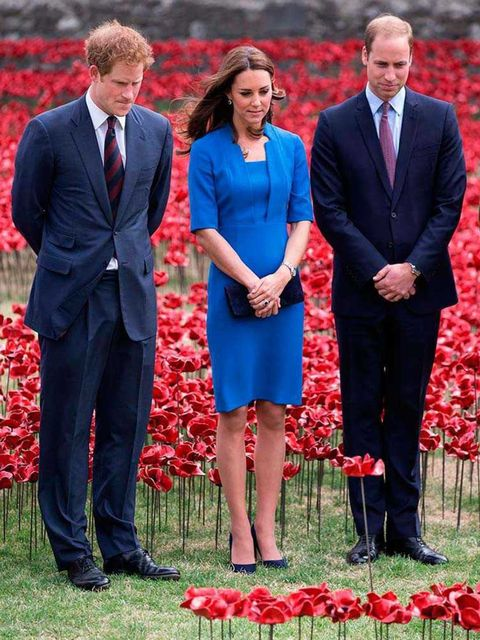 <p>Kate Middleton, with Princes William and Harry, wears L.K.Bennett at an installation entitled Blood Swept Lands and Seas of Red by artist Paul Cummins at the Tower of London to commemorate the First World War, August 2014.</p>