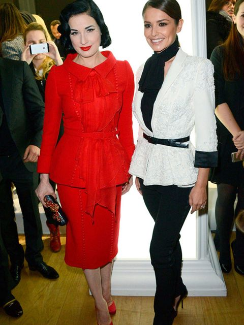 Dita Von Teese and Cheryl Fernandez-Versini at the Ralph and Russo haute couture show s/s 2015 in Paris, January 2015.
