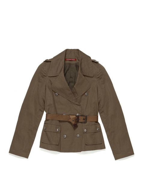 <p>A lightweight jacket is a must during the transitional months. Swap your trusty blazer for this utilitarian cropped trench. Comptoir des Cotonniers trench, £208, call 0207 792 9580 for stockists </p>