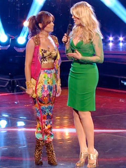 <p>Cheryl Cole wearing Roberto Cavalli on The Voice</p>