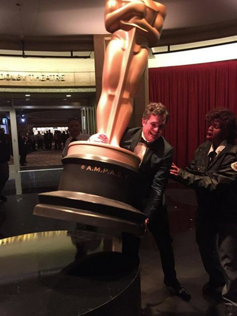 'I tried to make off with the big one. Security stopped me. Darn it. #oscars'