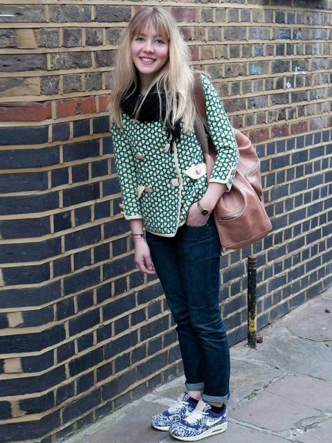 <p>Stina, 23, works for Orla Kiely. Jacket and bag Orla Kiely, Acne jeans, Nike trainers.</p><p>Photo by Rick Kelly</p>