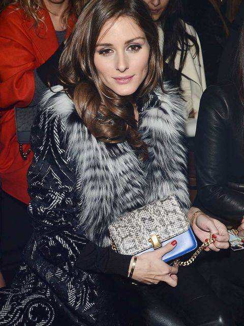 <p>Olivia Palermo on the Roberto Cavalli front row in Milan.</p>