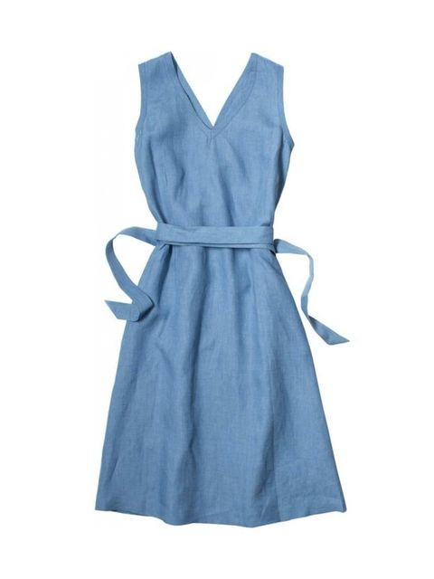 """<p>This understated, beautifully-cut blue linen tunic is all that we want to wear this summer, with white plimsolls or tan sandals. Layer on a chunky-knit oatmeal cardi while the weather's still cool. </p><p><a href=""""http://www.margarethowell.co.uk/women-"""