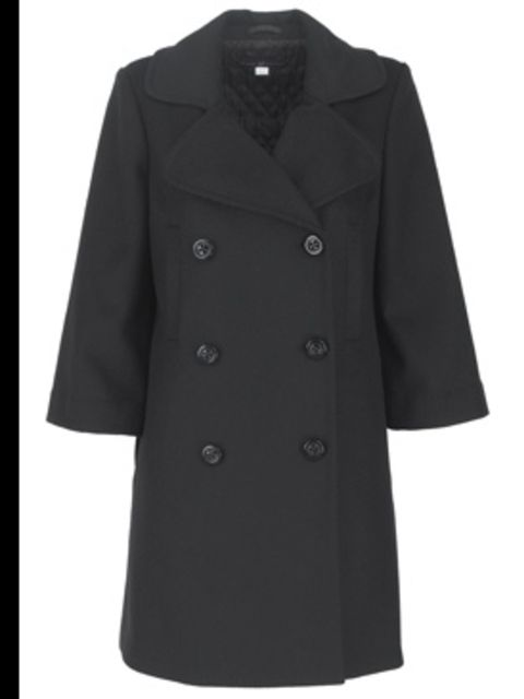 <p>Double-breasted coat £98 by GAP, for stockists call 0800 427 789</p>