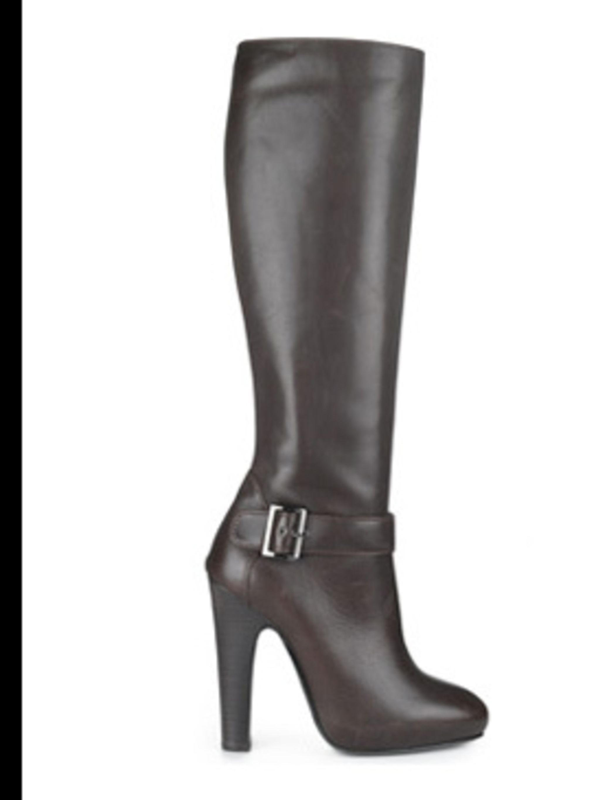 <p>Tall dark brown leather boots £575 by Alberta Ferretti, for stockists call 0207 235 2349</p>