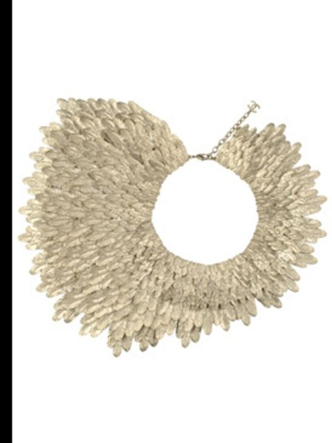 <p>Gold feather necklace £5,288 by Chanel, for stockists call 0207 493 5040</p>