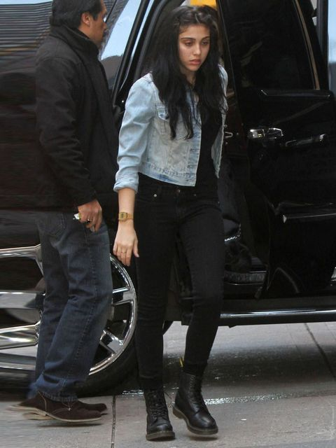 """<p><a href=""""http://www.elleuk.com/star-style/celebrity-style-files/madonna"""">Madonna</a>'s daugther Lordes Leon in her Dr Martens</p>"""