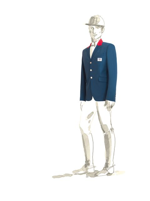 """<p>The <a href=""""http://www.elleuk.com/catwalk/designer-a-z/hermes/autumn-winter-2012"""">Hermes</a> equestrian jacket for the French Olympic team, London Olmypics 2012</p>"""