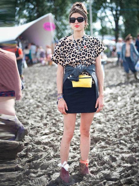 <p>Hannah, 22. Appletree t-shirt, Alternative jumper, Zara skirt, De Van Noten sunglasses, AA bum bag.</p>