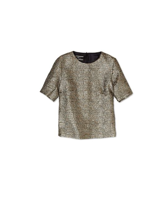 "<p>Get in the Olympic spirit with By Malene Birger's gold lame top... By Malane Birger metallic top, £179, at My-Wardrobe</p><p><a href=""http://shopping.elleuk.com/browse?fts=by+malene+birger+gold+lame"">BUY NOW</a></p>"