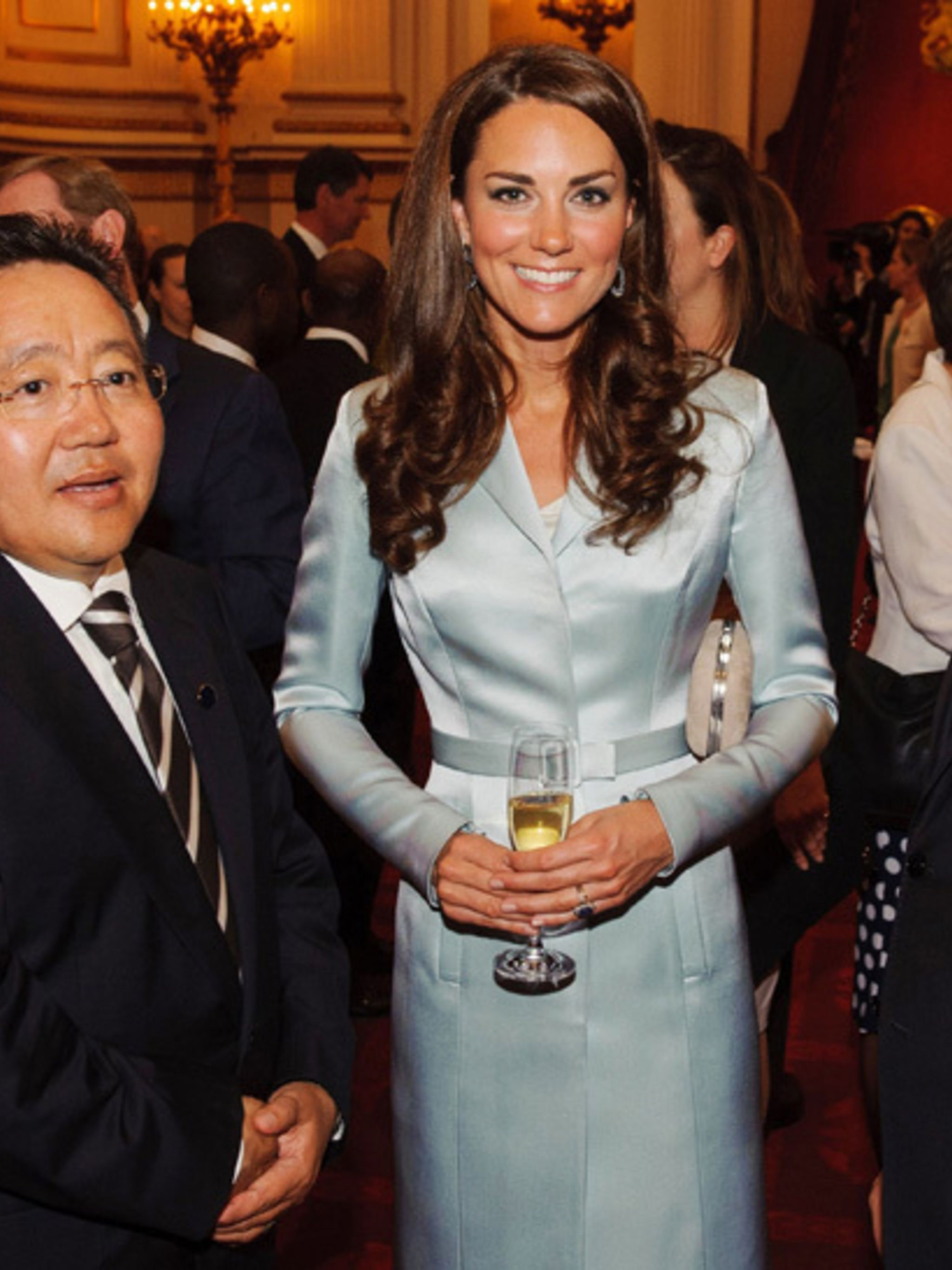 <p>Kate Middleton wearing Christopher Kane for the Olympics opening ceremony reception at Buckingham palace, July 2012.</p>