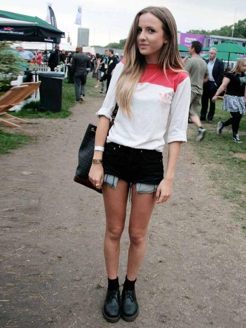 <p>Angelica Mandy, 19, Student. Vintage Levis shorts, Vintage Adidas t-shirt, Vintage bag.</p>