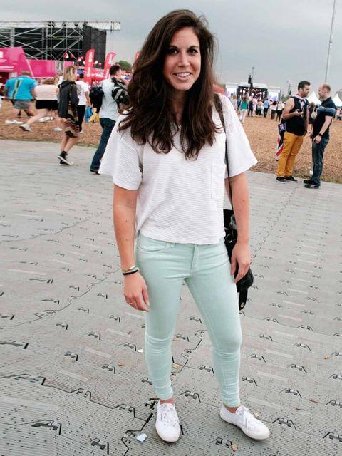 <p>Fiona Seligmann, 28, PA. Zara jeans, Superga sneakers, Vintage bag, American Apparel top.</p>