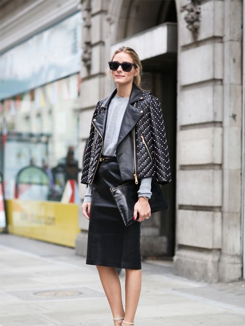Olivia Palermo wears Rebecca Minkoff jacket, Willow skirt, Whistles bag and Gianvito Rossi shoes.