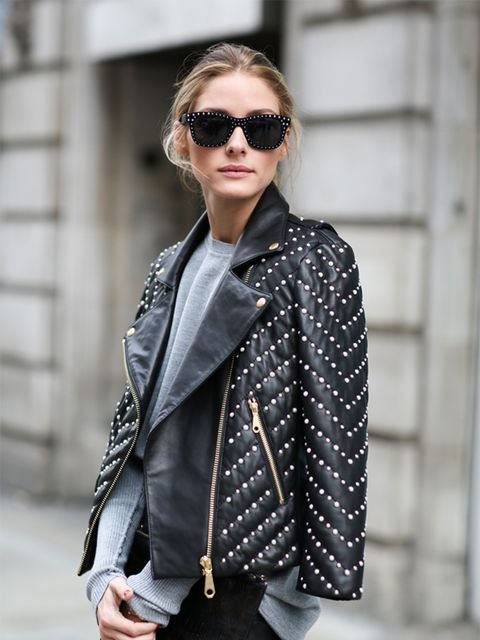 Olivia Palermo wears Rebecca Minkoff jacket, Willow skirt, Whistles bag.