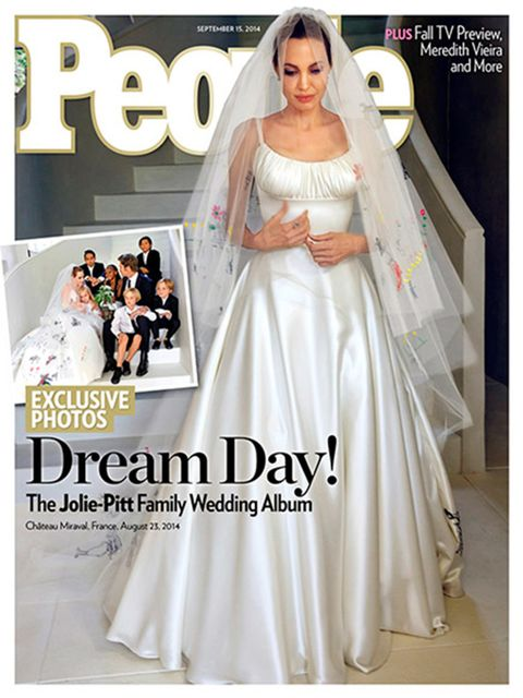 Brad Pitt wore Salvatore Ferragamo to marry long-term love Angelina Jolie, August 2014.