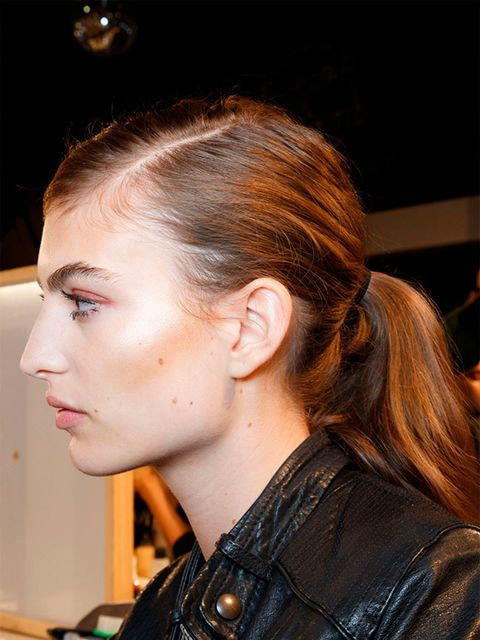 "<p><a href=""http://www.elleuk.com/catwalk/dsquared2/spring-summer-2015"">Dsquared2 </a></p>  <p>The look: Side swept ponytail</p>  <p>Hair stylist: Sam McKnight</p>  <p>Key products: Oribe Dry Texturising Spray, £39 at <a href=""http://uk.spacenk.com/dry-te"