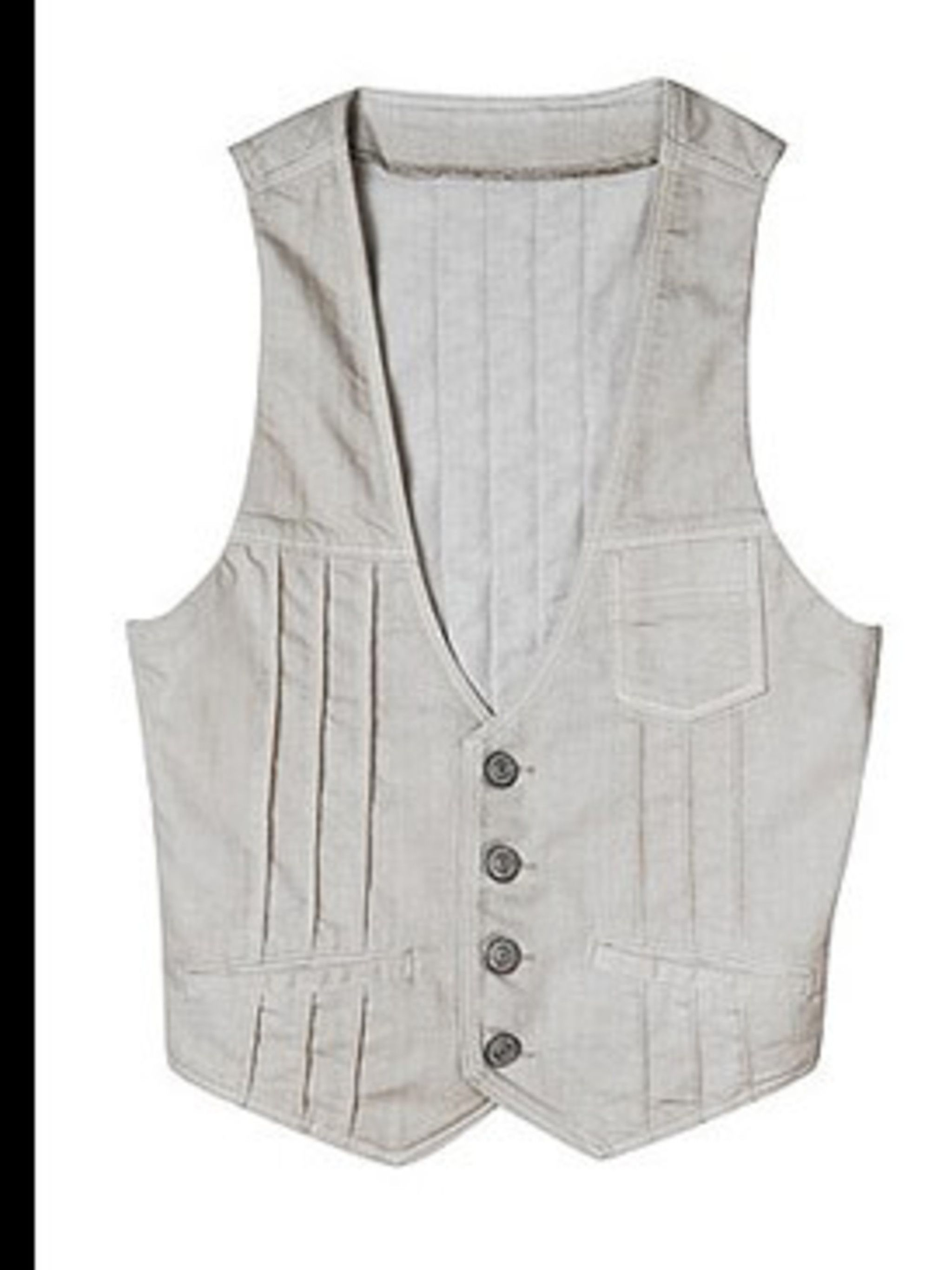 <p>Pleat fronted waistcoat £25 by Gap</p>