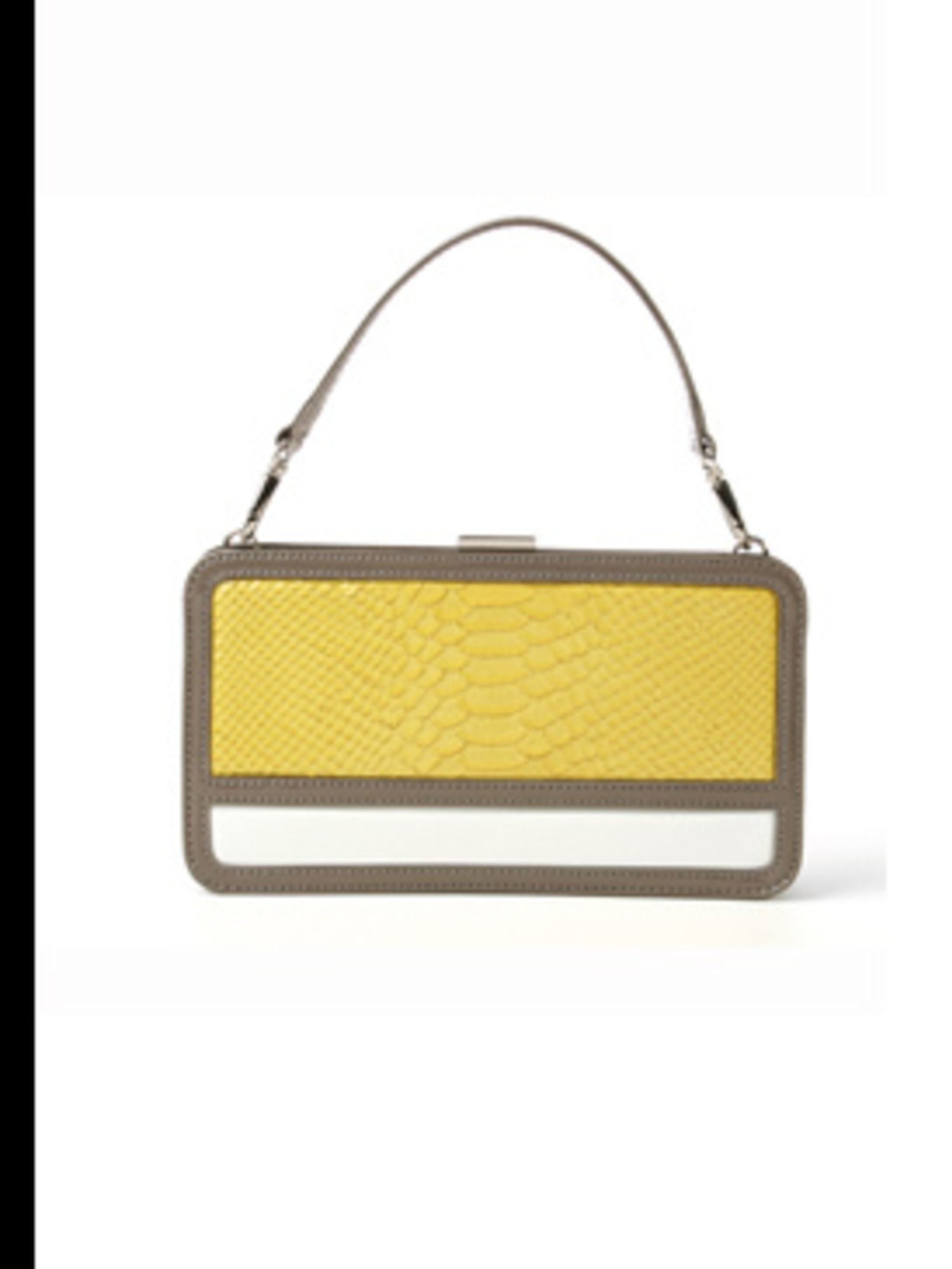 <p>Beige, yellow and white handbag, £53 by DKNY, for stockists 0207 499 6238</p>