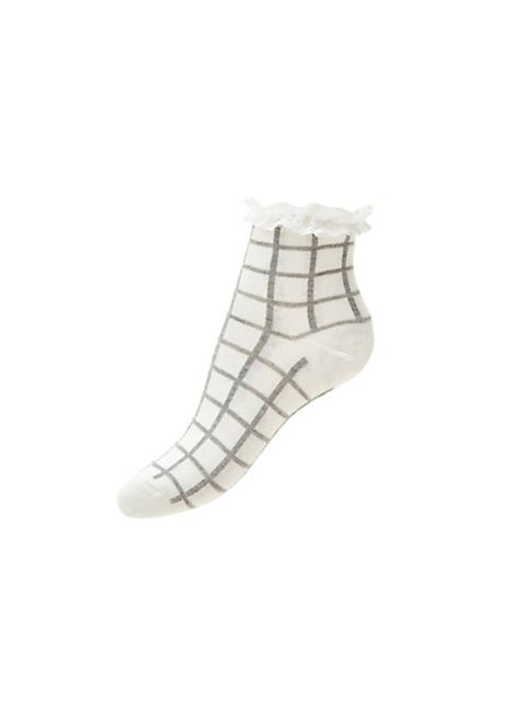 "<p><a href=""http://www.newlook.com/shop/womens/accessories/white-grid-check-frill-trim-socks-_340338219"" target=""_blank"">New Look</a> socks, £2.99</p>"