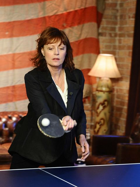 <p>Susan Sarandon is such a ping-pong fanatic, she's opened her own ping-pong night club called SPin in New York.</p>