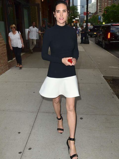 "<p>Jennifer Connelly steps out of her New York hotel in style in a pair of <a href=""http://www.elleuk.com/catwalk/designer-a-z/givenchy/autumn-winter-2012"">Givenchy by Riccardo Tisci</a> heels & a <a href=""http://www.elleuk.com/catwalk/designer-a-z/st"
