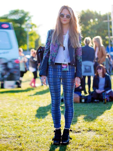 """<p>Clare Wilson, 25, wearing jacket and trousers from <a href=""""http://www.elleuk.com/catwalk/designer-a-z/unique/autumn-winter-2013"""">Topshop</a> and a vintage bag.</p><p><a href=""""http://www.elleuk.com/travel/holiday-inspiration/the-elle-guide-to-festivals"""