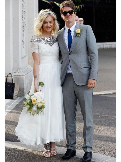 <p>Fearne Cotton wearing Jimmy Choo Sazerac heels on her wedding day with Jesse Wood.</p>