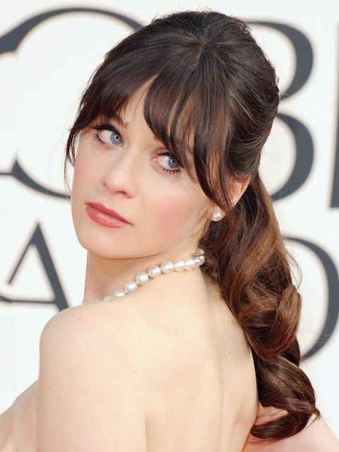 "<p><a href=""http://www.elleuk.com/star-style/red-carpet/golden-globes-2013"">Zooey Deschanel,</a> Golden Globes 2013</p>"