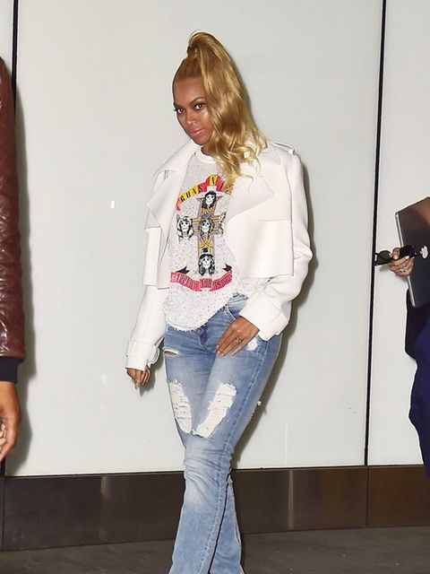 <p>Beyonce after a meeting in Manhattan the day after the Met Gala, May 2015.</p>