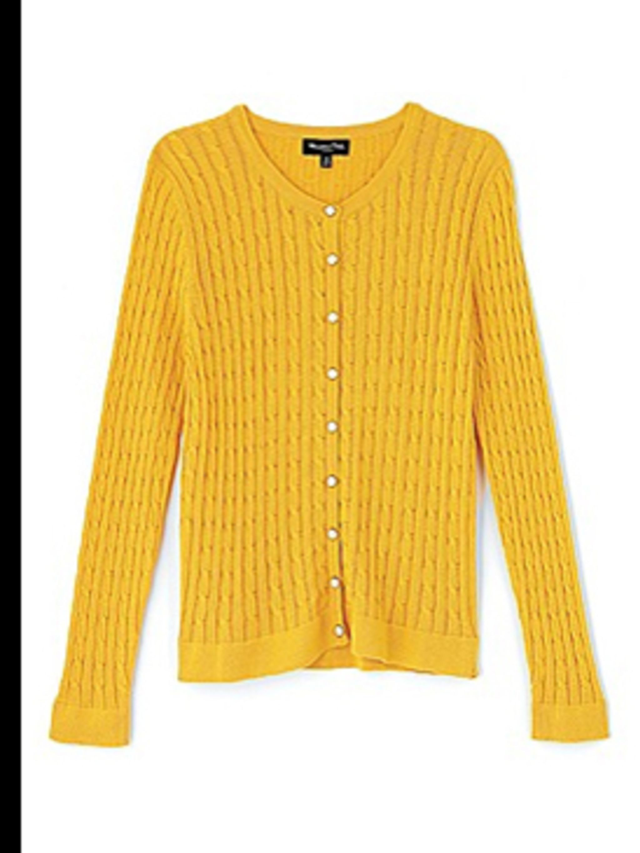 <p>Canary yellow fine cable knit cardigan, £45, by Massimo Dutti, for stockists call (0207 851 1280)</p>