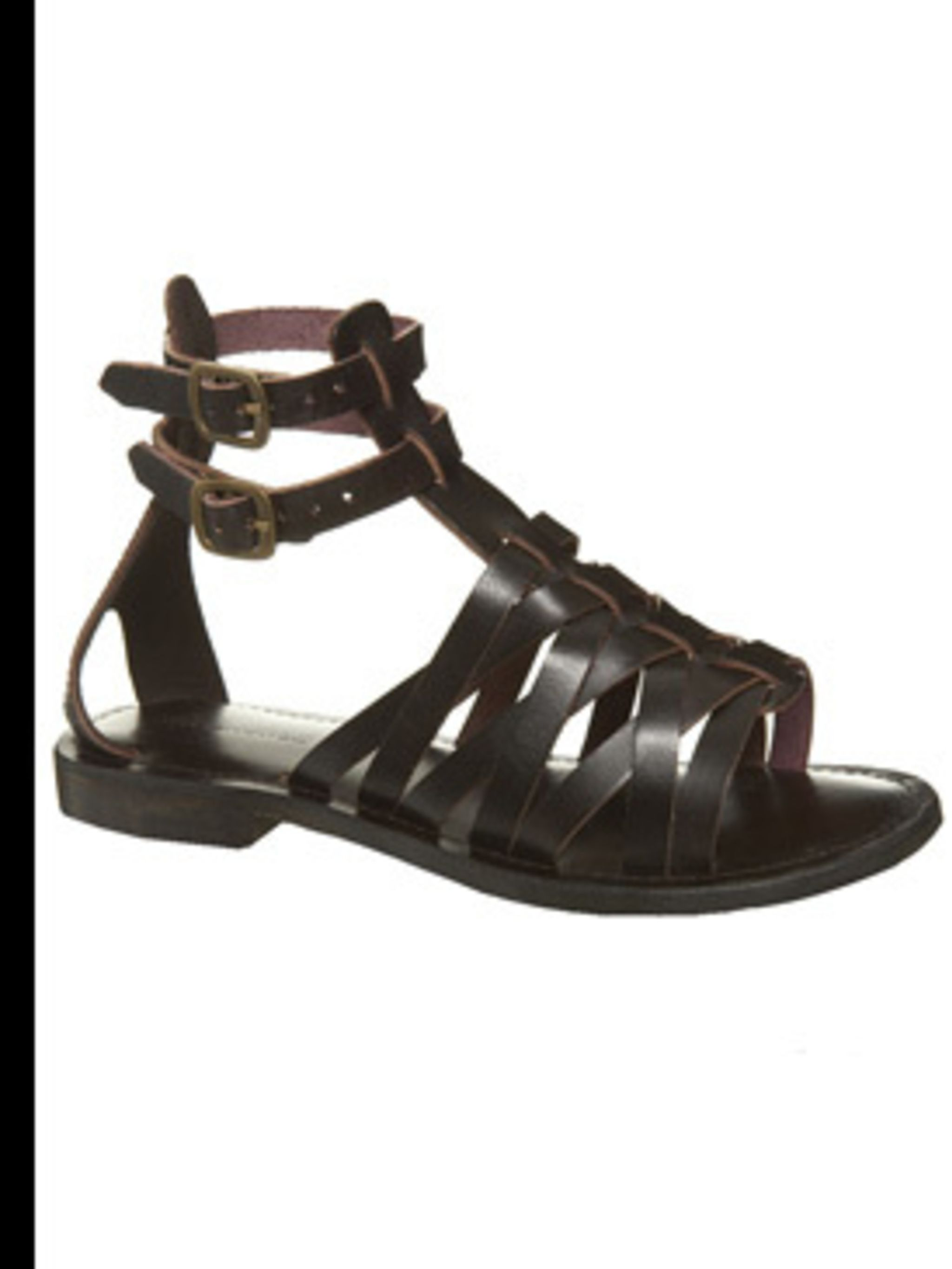 <p>Brown leather Gladiator Sandals, £25, sizes 3 - 8, Warehouse, 0870 122 8813</p>