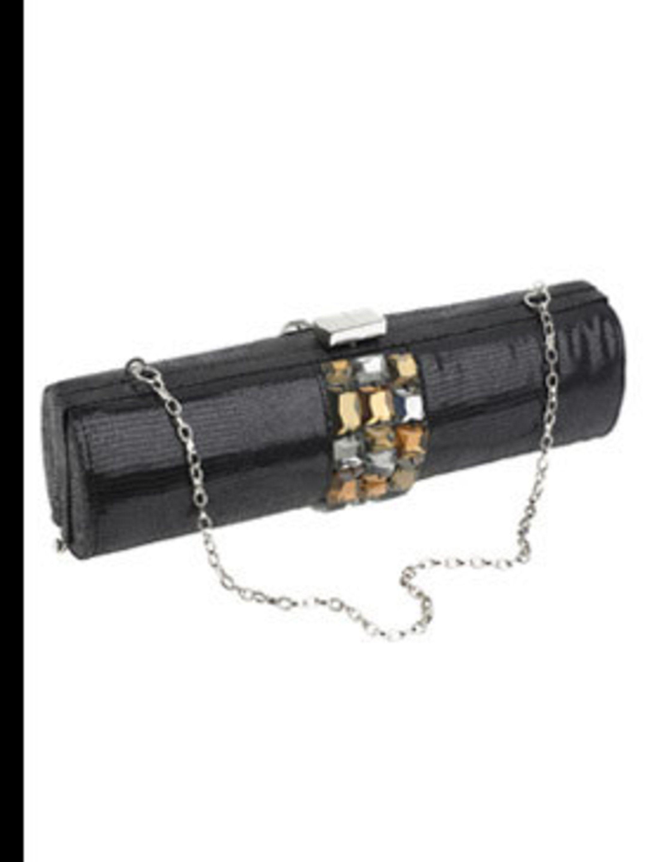 <p>Black sequin tube bag with orange stones and silver strap, £40, Jasper Conran at Debenhams, 08445 61 61 61</p>