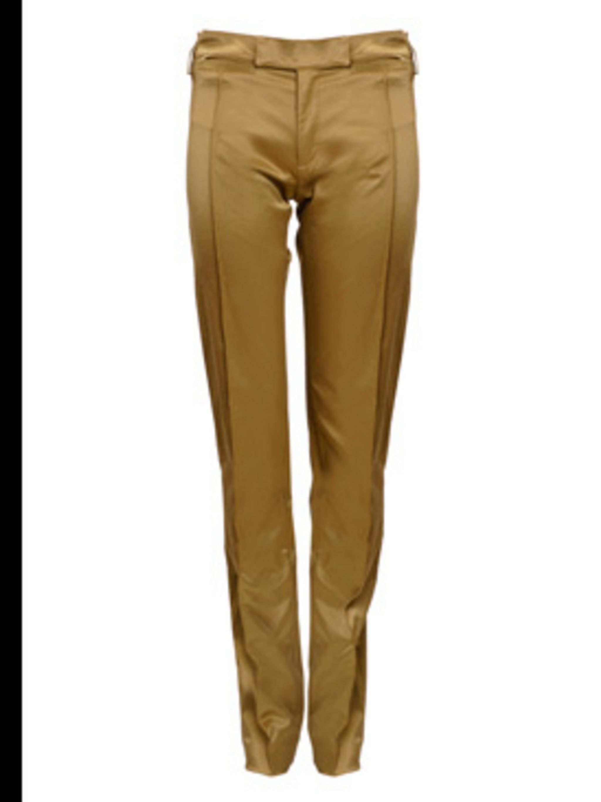 <p>Gold tailored trousers, £110, Miss Sixty, 0870 751 6040</p>