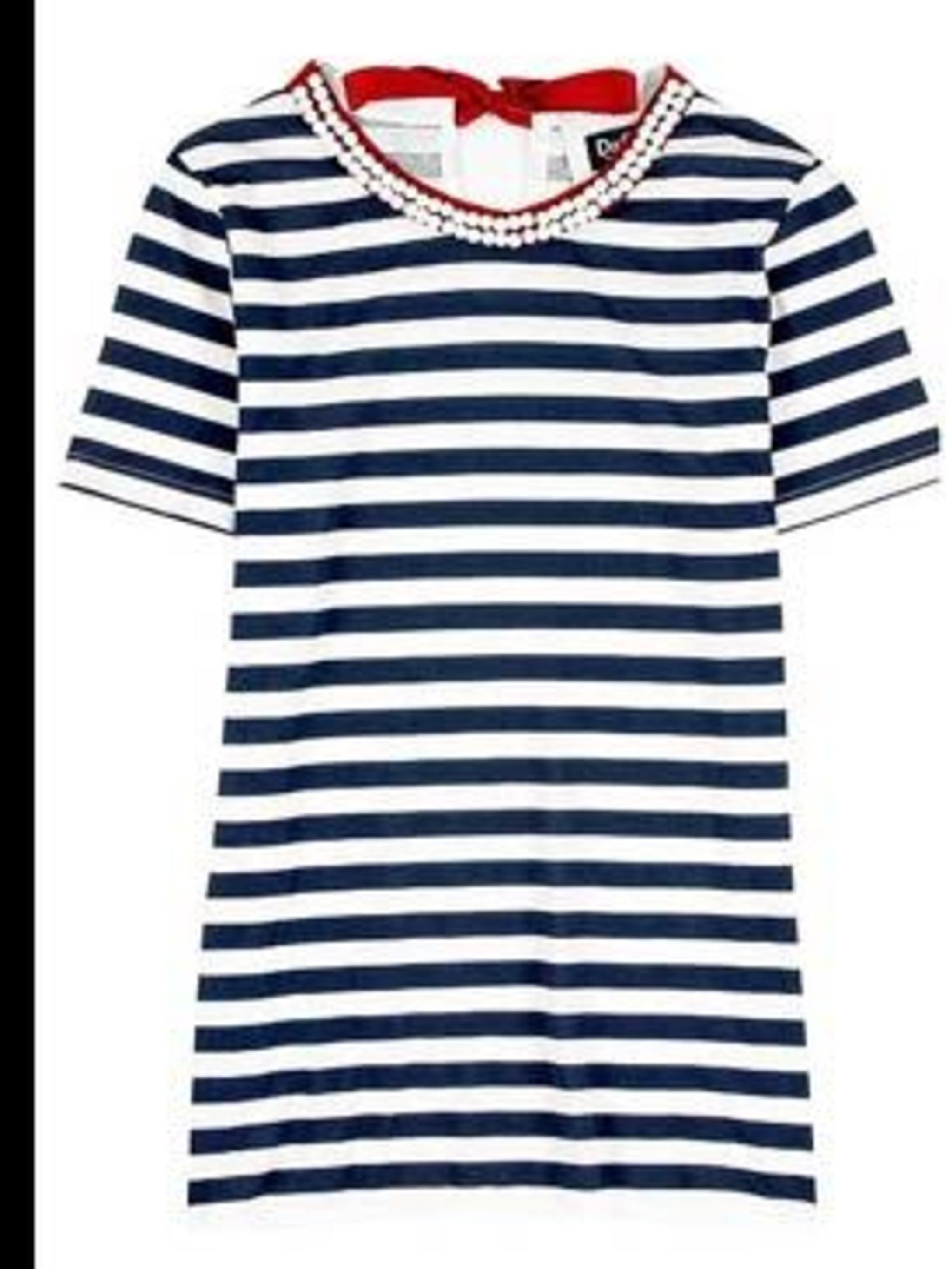 <p>Navy and white striped t-shirt with beaded neckline, £95, from D&G. For stockist details call 020 7495 9520.</p>