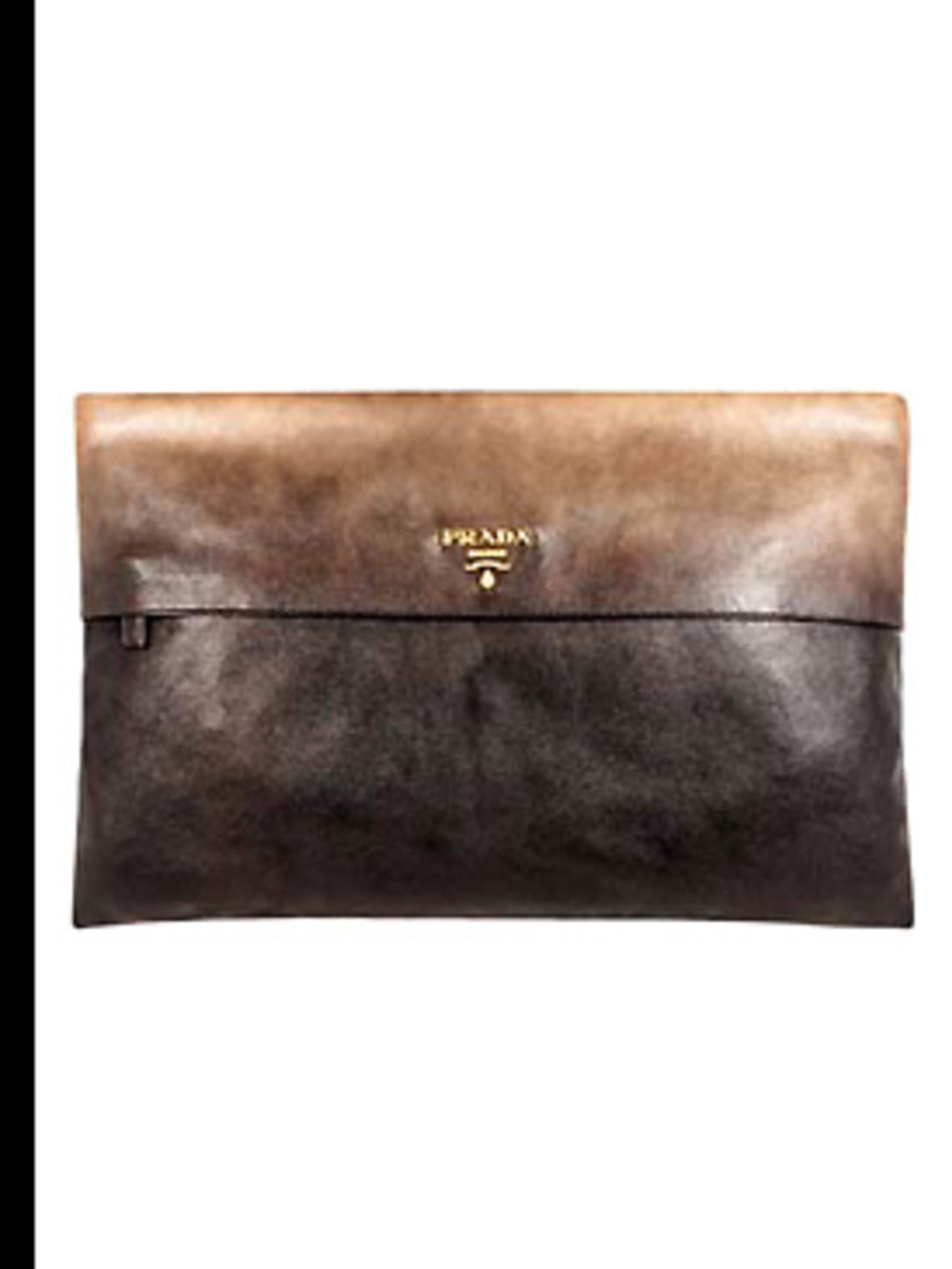 <p>Envelope clutch from £525 by Prada, for stockists call 020 7235 0008</p>